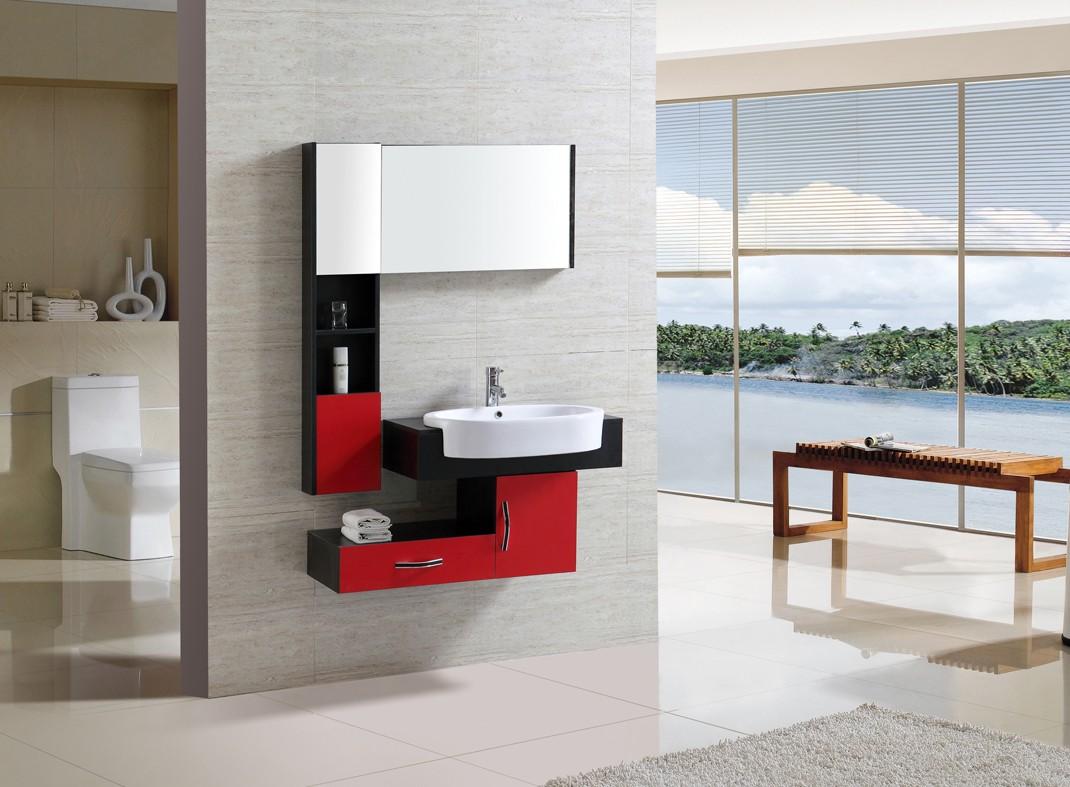 Een rood badkamermeubel gedurfd en goedkoop bij online
