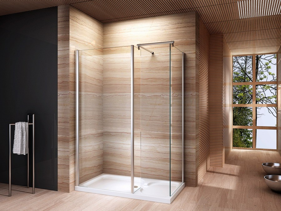 Een inloopdouche maken met een douchewand - Glas betegelde badkamer bad ...
